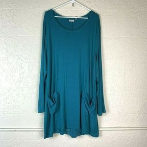 LOGO Layered Tunic 3X Long Sleeve Blouse Blue
